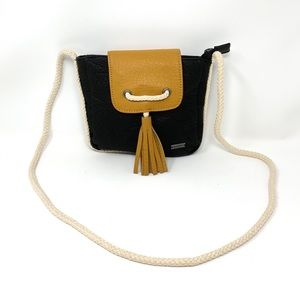 Roxy Crossbody Black and Tan Leather Bag